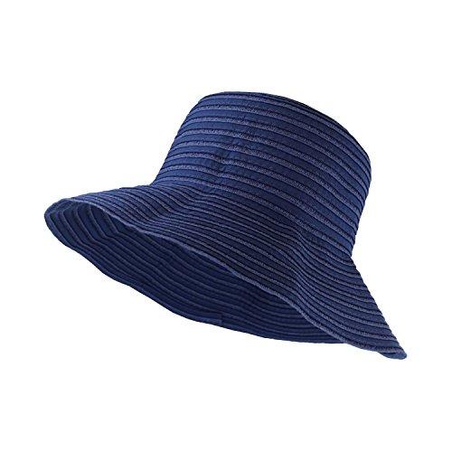 (Denim Blue Roll Up Travel Bucket Sun Hat, 3.5in Wide Brim, SPF 50 UV Block)