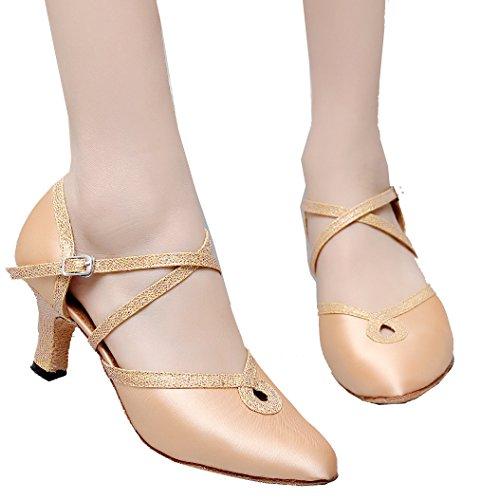 Abby 7134 Donne Punta Chiusa Gattino Tacco Scarpe Da Ballo Latino Tango Cha-cha Swing Sala Da Ballo Festa Di Nozze Sudue Suola In Raso Di Pelle
