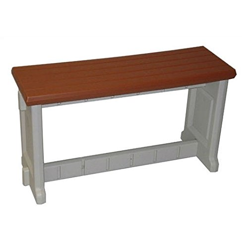 36 inch plastic outdoor garden picnic bench with redwood for Outdoor plastic bench seats
