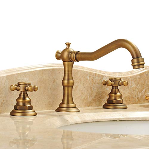 Pedestal Antique Brass (Beelee Deck Mounted Three Holes Double Handles Widespread Bathroom Sink Faucet, Antique Brass Finished)