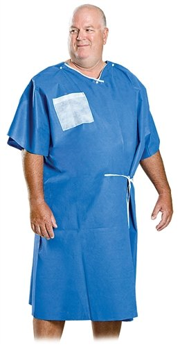 Patient Deluxe XL Exam Gowns - Disposable, 40'' x 50'', Blue, Case of 25 Gowns