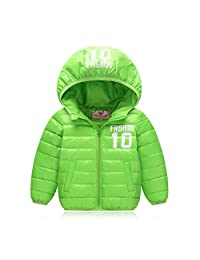 Unisex Boy Girl Down Jacket Hooded Thick Short Winter Coat for 4-13 Y/O Children