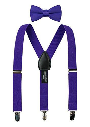 Spring Notion Boys' Suspenders and Solid Color Bowtie Set Purple - 4 Colour Ppm