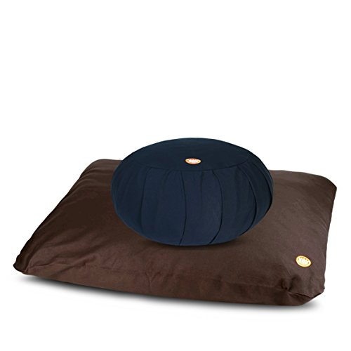 Pure Life Meditation - Large Zafu & Extra Thick Zabuton Set (Midnight Blue and Coffee)