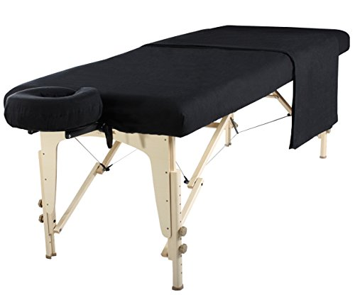 Mt Universal Massage Table Flannel Sheet Set 3 in 1 Table Cover, Face Cushion Cover, Table Sheet (Black)