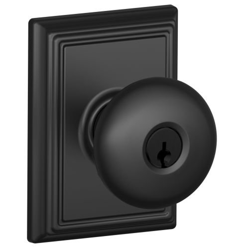 Schlage F51A-PLY-ADD Keyed Entry Plymouth Door Knobset with Decorative Addison R, Matte (Over Keyed Entry Door)