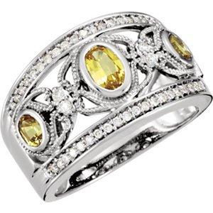 14K Blanc-Bague Saphir et Diamant 1/4Outlet-Jaune canari-Taille O