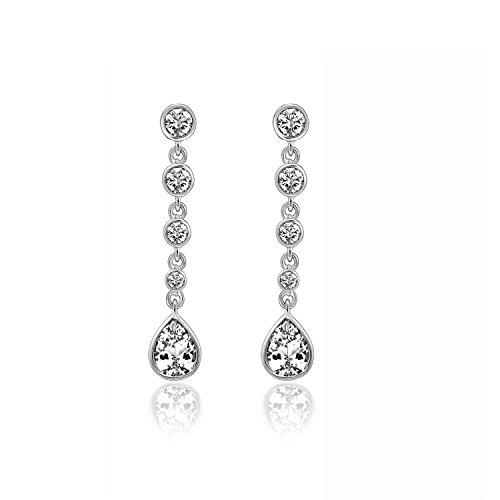 Tw Asscher Cut Earrings - DIAMONBLISS Platinum Plated Sterling Silver 2.15 ct tw Cubic Zirconia Pear Cut Drop Earrings