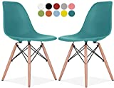 Le Vigan Eames Style Chair by Set Of 2 - Mid Century Modern Eames Molded Shell Chair with Dowel Wood Eiffel Legs - for Dining Room, Kitchen, Bedroom, Lounge - Easy-Assemble & Clean - Teal