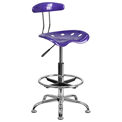 BBD Vibrant Violet and Chrome Drafting Stool with Tractor Seat