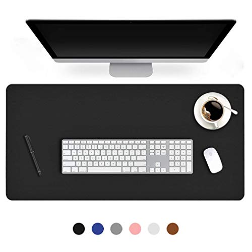 (24 X 48 Inch Desk Blotter Pad on Top of Desks Waterproof PU Leather Mouse Pad Desk Writing Mat For Home Office Large Laptop Computer Gaming Under Keyboard Pad Desk Accessories for Women Men Kids Black)