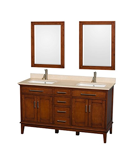 Wyndham Collection 60? Double Bathroom Vanity in Light Chestnut, Ivory Marble Countertop ...