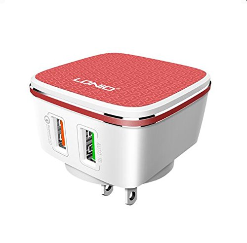 - 2 USB AUTO-ID Home Charger with QC3.0 Quick Charger 3.0 for Samsung,Digital Camera,Optional Plugs with USB Cable for Home,Office,Travel use(Android) (Red)