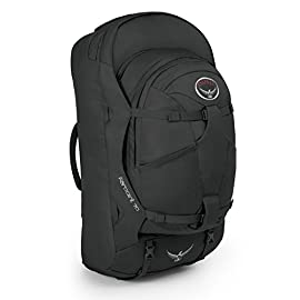 Osprey Packs Farpoint 70 Travel Backpack 57 Stowaway backpanel, harness and hipbelt with zippered rear flap for protection Detachable daypack provides additional storage and organization ideal for daytrips or carry-on Durable fabrics in high-wear areas combine with smart design to create a lightweight and tough travel pack that will last a lifetime.