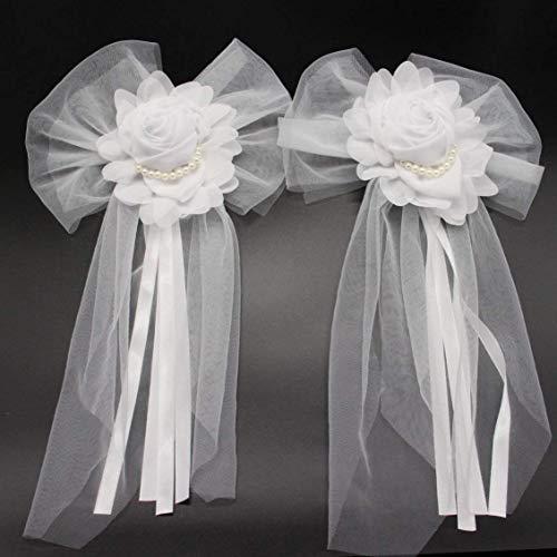Advantez Pearl Bud Silk Ribbon Flower Wedding Party Decoration,Bridal Car,Wedding Car Decoration 4 pcs ()