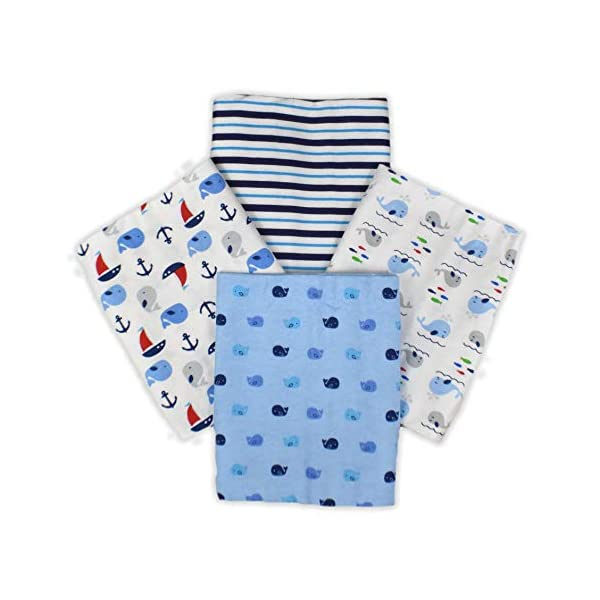 Little D 4-Pack 100% Cotton Unisex Swaddling/Receiving Blanket for Newborn Babies