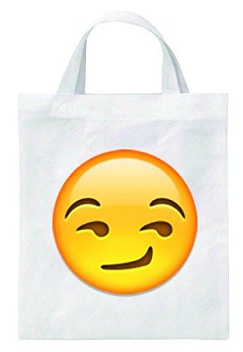 """Tragetasche 40x38 """"Süffisant/verschmitzt lächelndes Gesicht"""" Jutebeutel - Turnbeutel - Schulbeutel - Fitnessbeutel - Einkaufstasche- Smiley- Emoij- Weihnachts Geschenktipp"""
