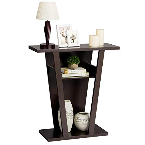(Yaheetech 3 Tiers Parlor Wood Shelf V-Shape Console Table Hallway Display Rack Espresso)