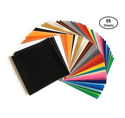 Self Adhesive Vinyl Sheets, 55 Pack 12x12 Assorted Colors by AD American Deluxe Vinyl Craft, Premium Permanent Vinyl Bundle for Cricut Maker, Silhouette Cameo Vinyl, Cricut Vinyl Explore Air, Decals