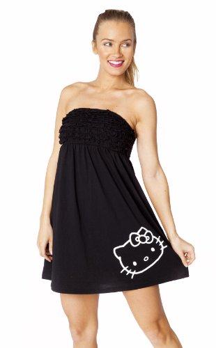 Hello Kitty Cover up Dress Juniors (Medium, Black)