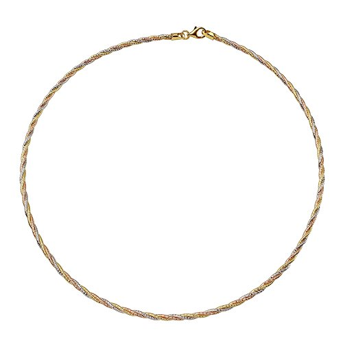 """3mm Sterling Silver Italian 3 Layer Twisted 14K Gold Plated Tri-Color Omega Spring Chain (16, 18, 20""""), 16"""