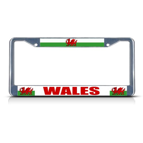 Fastasticdeals Wales Flag RED Dragon Welsh Country Chrome Study Metal License Plate Frame