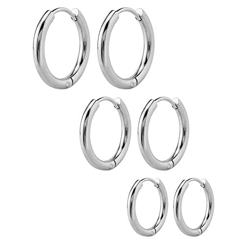 [NEOWOO 3 Pairs Stainless Steel Round Endless Hoop Earrings for Women Gold Silver Black, 15-19MM (White Steel)] (White Gold Silver Hoop)