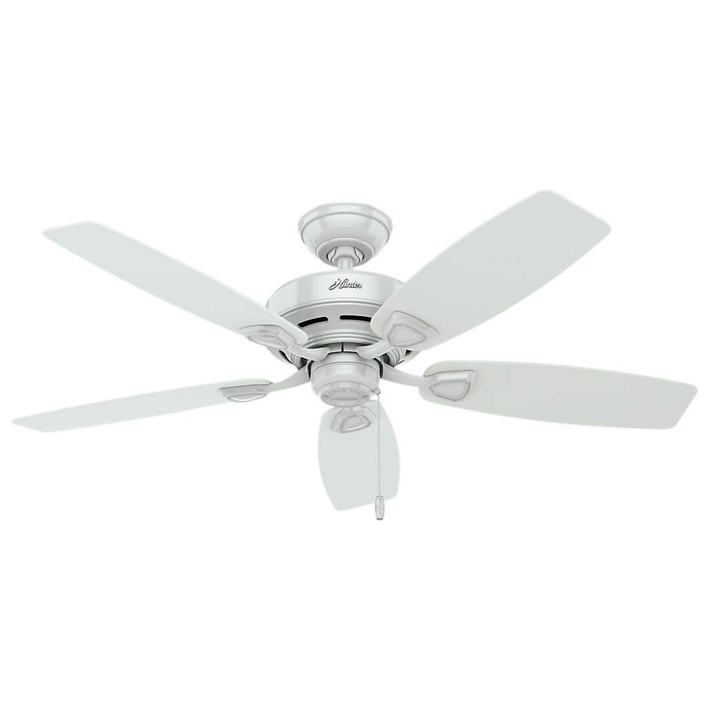 Hunter Indoor Outdoor Ceiling Fan, with pull chain control – Sea Wind 48 inch, White, 53350