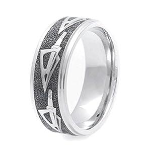 Mens Titanium Arrowhead Bow Hunters Dream Wedding Ring 8mm Wide