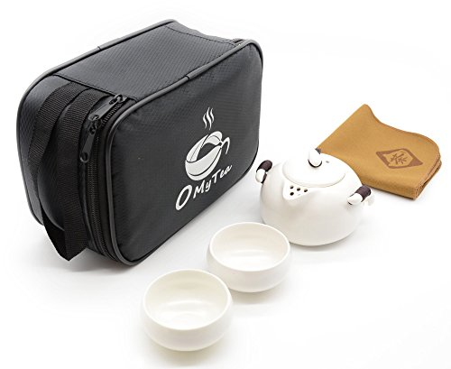 "OMyTea® ""Quick Cups"" Portable Travel Kungfu Tea Set - 100% Handmade Chinese / Japanese Style (White)"