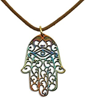 product image for From War to Peace Hamsa Iridescent Necklace on Adjustable Natural Fiber Cord