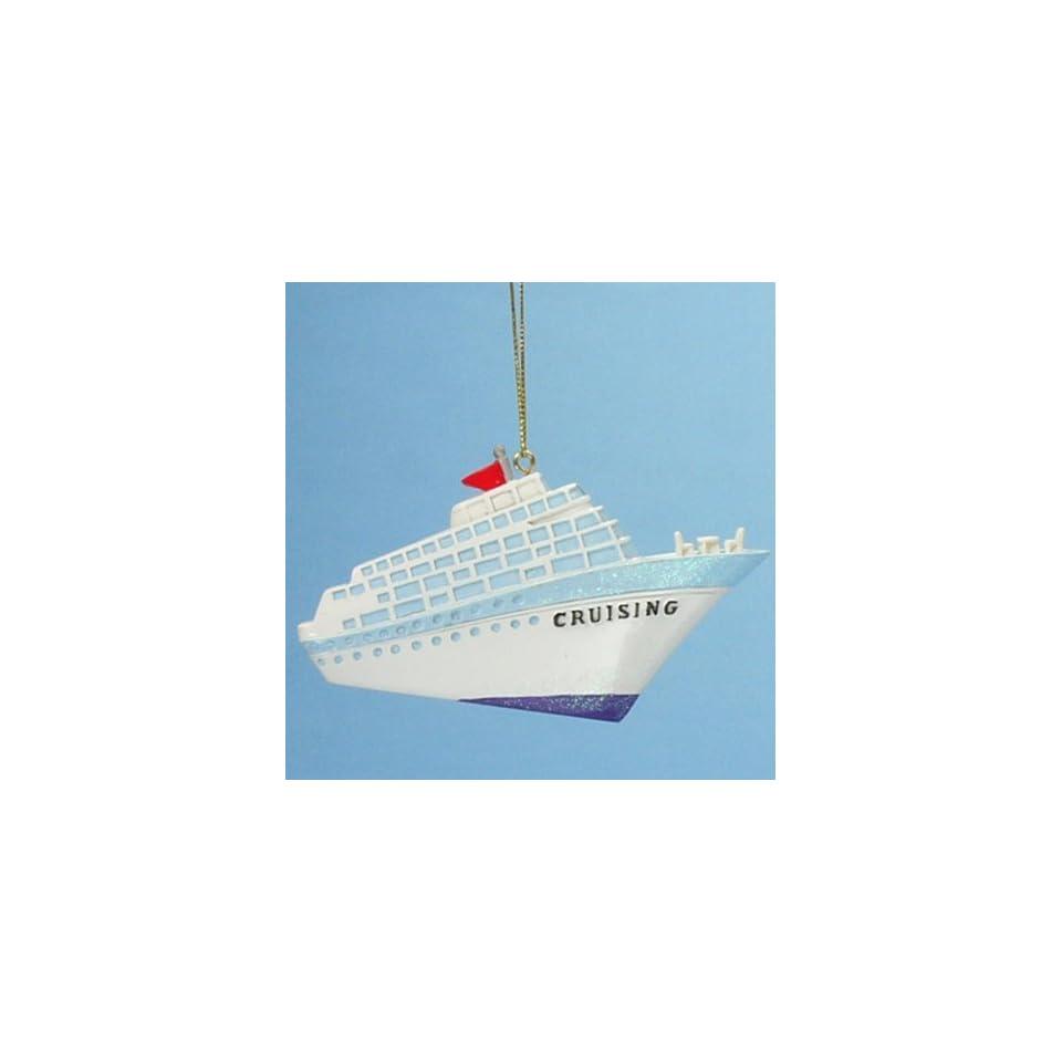 Glittery Cruising Cruise Ship Boat Christmas Ornament #W3453