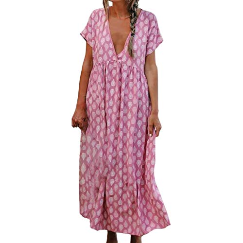 Women's Sexy Deep V Neck Dresses Vintage Printed Ethnic Style Maxi Dress Casual Swing Summer Beach Long Dress Hot Pink
