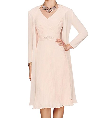 H.S.D Women's A Line V Neck Short Chiffon Mother Of The Bride Dress With Jacket