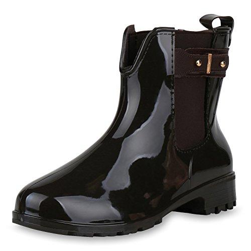 SCARPE VITA Women Wellington Boots Dunkelbraun Schnallen