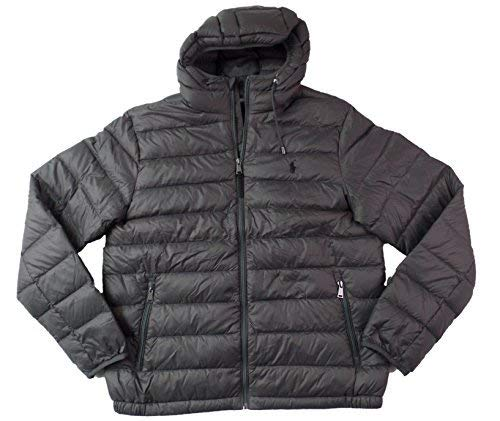 Polo Ralph Lauren Mens Full Zip Hooded Puffer Jacket (Large, Grey)]()