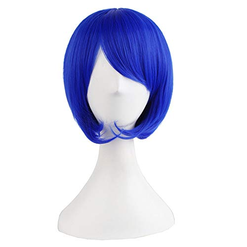 Bob Wig Short Straight Blue Purple White Ombre Natural Wigs for Women Heat Resistant Synthetic Cosplay Halloween Hair -