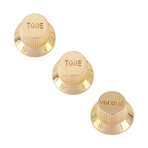 Musiclily One Volume Two Tone Speed Control Guitar Knobs for Fender Stratocaster Strat Guitar, Gold