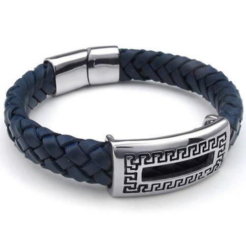 KONOV Leather Bracelet Stainless Steel