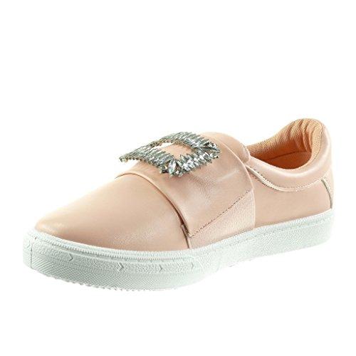 Gioielli Angkorly Slip Cm Scarpe Strass Piatto Moda 5 Rosa Sneaker Donna on 2 Da Tacco SwS0qxIr