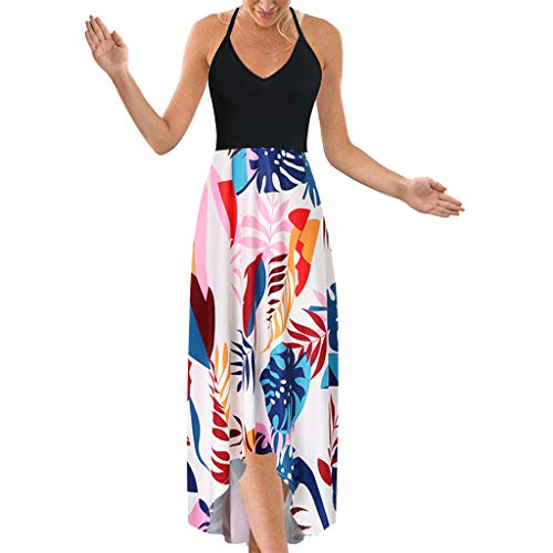 (Women's Dress Halter V Neck Sleeveless Summer Casual Asymmetrical Patchwork Floral Maxi Dresses)