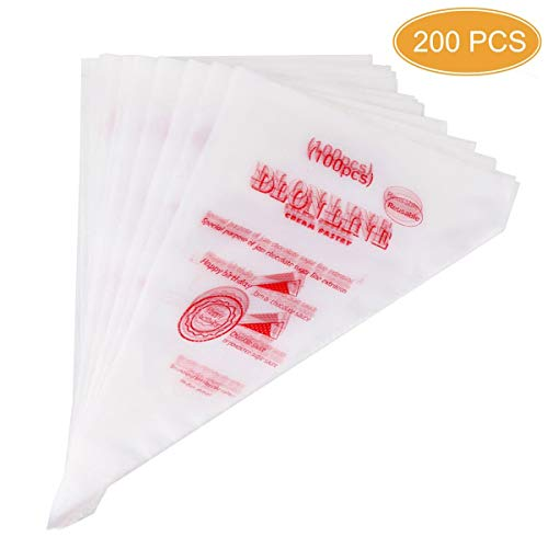DLOnline 200 Pcs Disposable Cream Pastry Bag Cake Icing Piping Decorating Tool Cupcake Decorating Piping Icing Bag