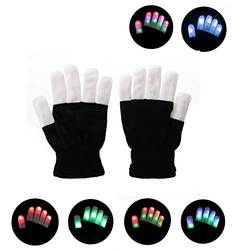 LED Colorful Rave Gloves, FNWD Kids Flashing LED Finger Light Gloves with 7 Colors Light Show Perfect for Raves Parties Christmas Gift Halloween Clubbing Disco Light-up (Dubstep Light Show Halloween)