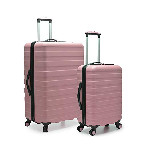 (Travelers Choice Cypress Colorful 2-Piece Small and Large Hardside Spinner Luggage Set, Pink )