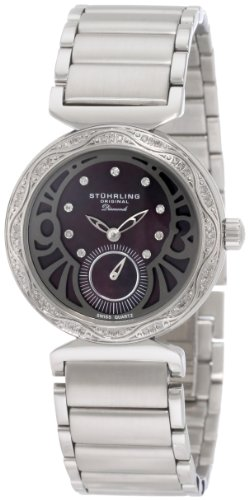 Stuhrling Original Women's 504B.121127 Vogue Soiree Elite Diamond Black Mother-Of-Pearl Dial Watch