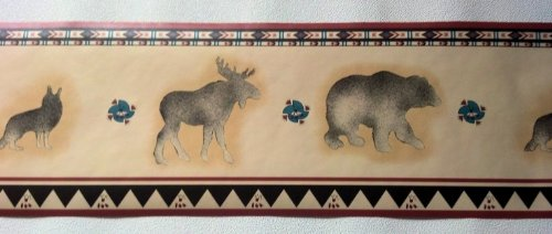 Lodge Wallpaper Border – Bear Moose Wolf Wolves…