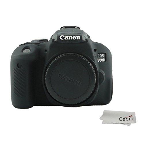 CEARI Silicone Camera Case Rubber Housing Protective Cover for Canon EOS 800D Rebel T7i Digital SLR Camera - Black