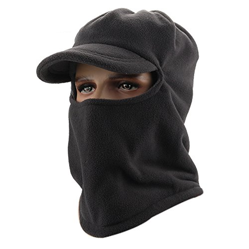 Leories Winter Windproof Cap Fleece Balaclava Hooded Face Mask Neck Warmer Ski Hood Snowboard Mask Wind Protector Ski Hat Dark Grey