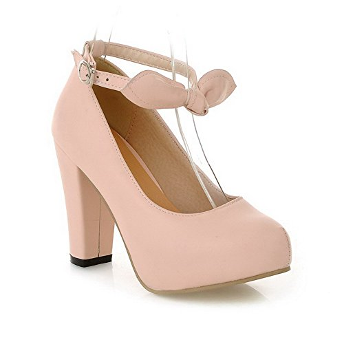 AmoonyFashion Womens High-Heels Solid Buckle Soft Material Round Closed Toe Pumps-Shoes Pink gMNacmMkJ