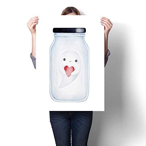 Anshesix Canvas Wall Art for Bedroom Home Decorations Little Smiling Baby Ghost Holding red Love Heart Flying Inside Transparent Glass jar for Home Decoration No Frame 20